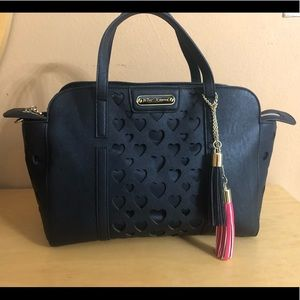 Betsy Johnson Black Heart Tote with Tassels